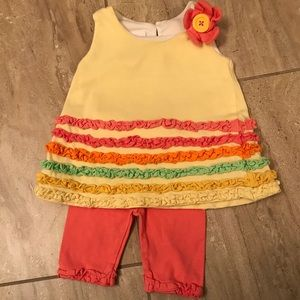 Bonnie Baby yellow tunic and capris set